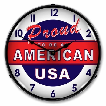 Lighted Proud to be American Clock