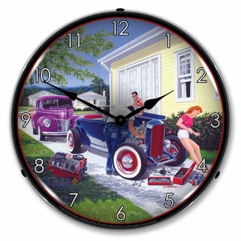 LED Lighted Shade Tree Mechanic Clock