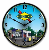 LED Lighted Sunoco Station 2 Clock