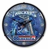 Lighted Truckers USA Clock