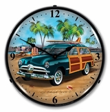 LED Lighted Woody Surfer Wagon Clock