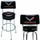Made in the USA Corvette Racing Shop Stool with Logo Backrest