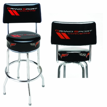 Made in the USA Grand Sport Corvette Shop Stool with Logo Back
