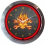 Mechanic Fire Skull And Wrenches Neon Clock