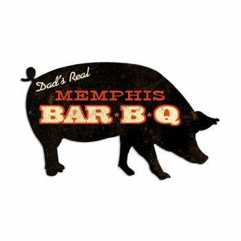 Memphis Bbq Pig Metal Sign