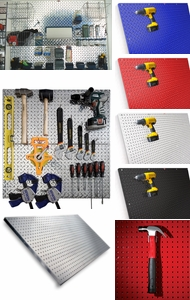 Items in Metal Pegboard
