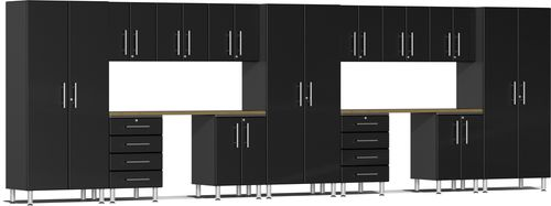 Midnight Black Metallic MDF 15-Piece Kit with Dual Workstation
