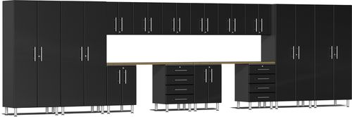 Midnight Black Metallic MDF 16-Piece Kit with Dual Workstation