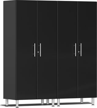 Midnight Black Metallic MDF 2-Pc Tall Cabinet Kit