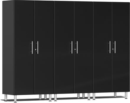Midnight Black Metallic MDF 3-Pc Tall Cabinet Kit