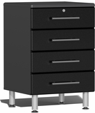 Midnight Black Metallic MDF 4-Drawer Base Cabinet