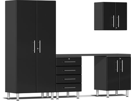Midnight Black Metallic MDF 5-Piece Kit with Workstation