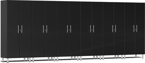 Midnight Black Metallic MDF 6-Pc Tall Cabinet Kit