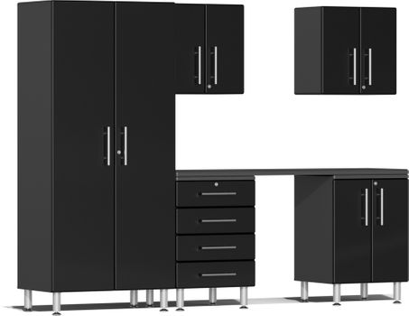 Midnight Black Metallic MDF 6-Piece Kit with Workstation