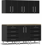 Midnight Black Metallic MDF 7-Piece Kit with Bamboo Worktop