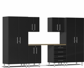 Midnight Black Metallic MDF 7-Piece Kit with Workstation