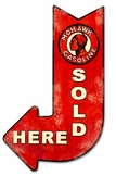 Mohawk Gasoline Sold Here Arrow Metal Sign