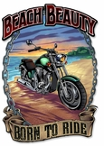 Motorcycle on the Beach Metal Sign