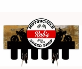 Motorcycle Shop Key Holder With Wood Backing Personalized Metal Sign