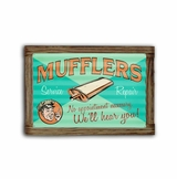 Muffler Service Corrugated Framed Metal Sign