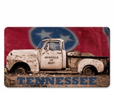 Nashville Or Bust Truck With Flag Metal Sign