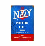 Navy Motor Oil Metal Sign