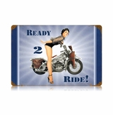 Navy Ready 2 Ride Metal Sign
