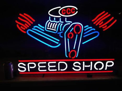 Neon Speed Shop Sign