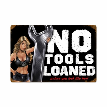 No Tools Pinup with Wood Frame Metal Sign