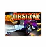 Obscene Vintage Metal Sign