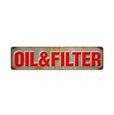 Oil And Filter Metal Sign