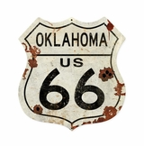 Oklahoma US 66 Shield Vintage Plasma Metal Sign