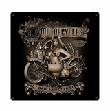 Old Motorcycles Hot Babes Cold Beer Metal Sign