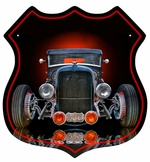 OLD RAT ROD SHIELD SHAPE Metal Sign
