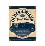 Older And Wiser Speed Shop Vintage Blue Metal Sign