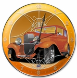 Orange Old Car Round Metal Clock