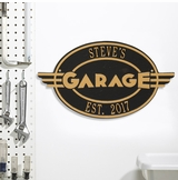 Personalized Cast Aluminum Oval Garage Plaque