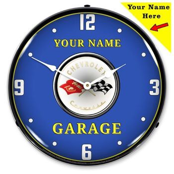 Personalized LED Lighted C1 Corvette Clock