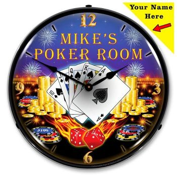 Personalized LED Lighted Poker Room Clock