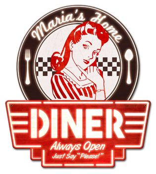 Personalized Mom's Home Diner Metal Sign