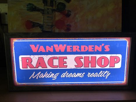 Personalized Nostalgic LED Race Shop Sign