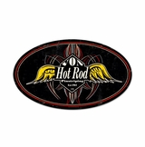 Pinstripe Oval Metal Sign