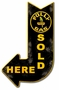 Polly Gas Sold Here Arrow Metal Sign