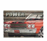 Power Muscle Car Corrugated Metal Sign