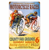 Pro Motorcycle Races Metal Sign