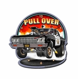 Pull Over Metal Sign