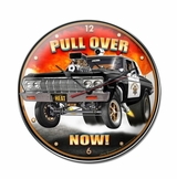Pull Over Now Metal Clock
