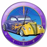 Purple Car Round Metal Clock