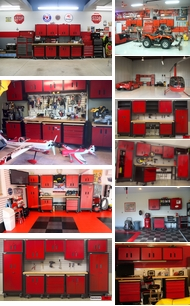 Items in Red and Black Metal Cabinets