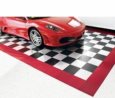 Red and Checkered Aluminum Floor Tiles 18 feet by 12 feet